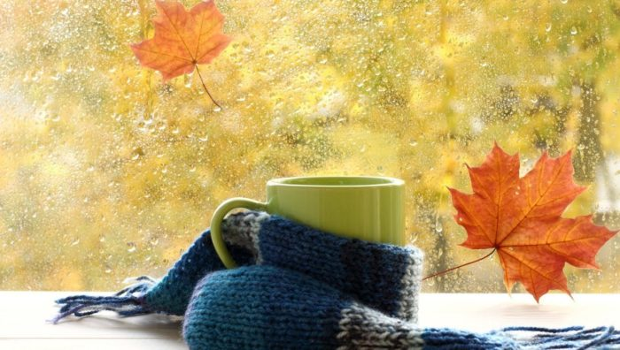 Чашка на подоконнике во время осеннего дождя