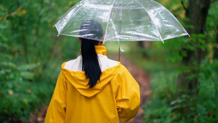 Девушка в желтой куртке под дождем
